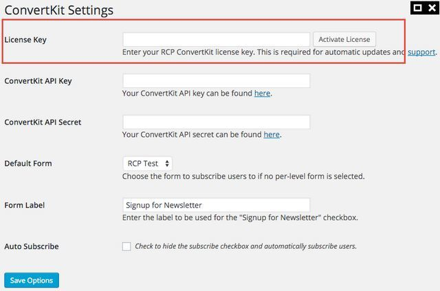 enter convertkit rcp license key