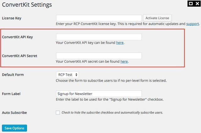 ConvertKit RCP API keys