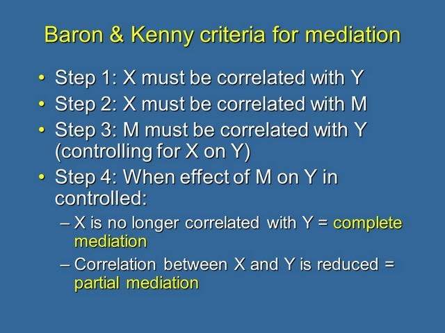 Barron & Kenny criteria for mediation