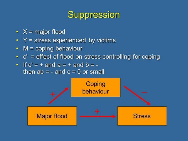 Example: Coping behaviour suppresses the stressful effects of a major disaster